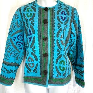 The Territory Ahead Jackets & Coats - THE TERRITORY AHEAD Blue & Green ARTSY Jacket  M P